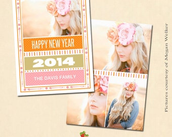 INSTANT DOWNLOAD - 5x7 New Year Card Template - CA331