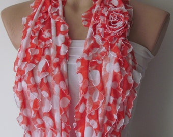 Red and White Polka Dot Ruffle Scarf-Circle Scarf -Infinity Loop Scarf-Neckwarmer-Cowl Scarf-Pashmina Scarf- Chunky Scarf-Frilly Scarf