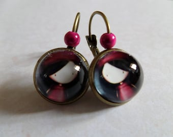 Sleeper earrings small Lyly to bronze beret antique Pearl Pink