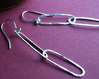 Hammered Java Earrings: Sterling Silver Handcrafted Oval Two Link Dangles