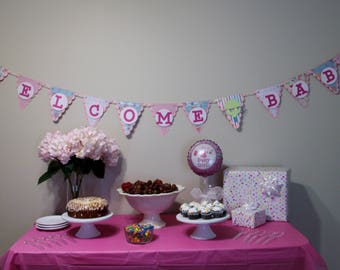 Welcome Baby Banner, pink