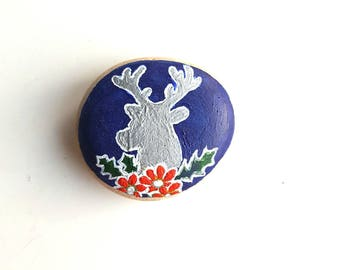 Stag Floral Painted Stone, Beach Stone, Painted Rock, Pebble, Decoration, Ornament, Paperweight, Fun Gift, Unique