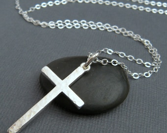 "LONG hammered silver cross necklace. LARGE. sterling silver cross pendant. simple necklace. christian faith jewelry. 1 1/4"" cross. 32 inch"