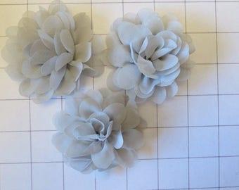 "Set of 3 2.75"" Gray Green Chiffon Flowers Embellishments Dance Costumes! (I-40)"