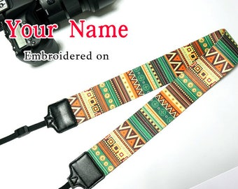 D Custom  Camera Strap  Personalized Camera Strap etnic Embroidered DSLR Sony, Nikon, Canon Accessorie Photography Gift Birthday Gift Boho