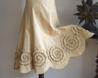 Long Boho Skirt, Skirt with Rosettes, Long Ruffle Skirt, Prairie Bride Skirt, Midi Ruffle Skirt, Bell Shape Skirt, denim cotton canvas skirt