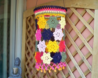 "Lampshade hanging crocheted multicolored stars, model ""Sunshower""."