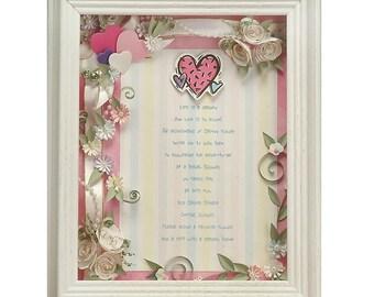 Framed Bridal Shower Invitation Custom Bridal Gift Teal