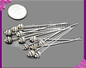 20 Antiqued Silver Fancy Headpins 2 inch with 5.5mm Spacer Bead Head