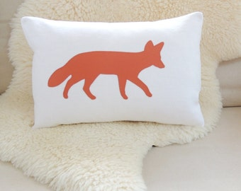 Fox Appliqué Pillow Cover - White Linen & Rust Orange
