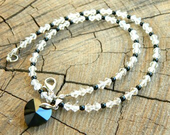 Wanderlust gift kids gift Heart necklace Black choker Crystal Necklace girlfriend Swarovski crystal Heart jewelry Valentine jewelry for kids