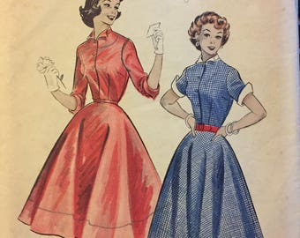Vintage 1950's Quick and Easy Dress Sewing Pattern Butterick 6774 Full skirt  Bust  30 inches  Complete