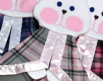 Pink Gray Plaid Fisher Price Bunny Lovey Replica