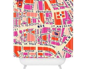 Paris Map Pink Shower Curtain