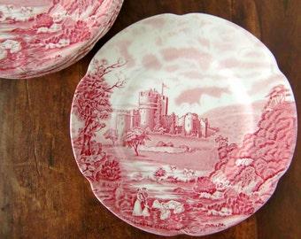 Vintage Dinner Plates Ø 20 cm, Red and White Porcelain, JOHNSON BROTHERS 'Castle Story'