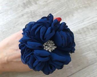 Pigtail Chiffon flower on elastic holder, Ponytail holder, hair tie, girl birthday gift, hair jewelry, flower hair accessize, chiffon flower