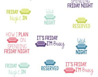 Friday Night! || Planner Stickers