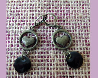 Earrings heart and black sequins
