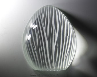 Signed engraved/cut glass paperweight