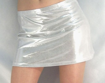 Silver Metallic Shiny hipster mini skirt