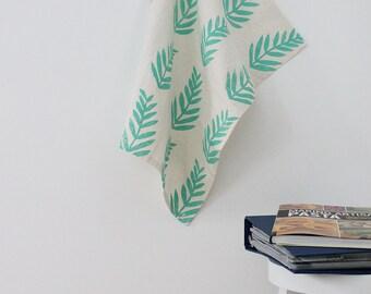 fern leaf hand printed tea towel paradise green tropical kitchen towel gift SALE
