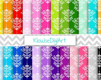 Rainbow and Pastel Floral Damask Printable Digital Papers for Personal and Commercial Use (0028)