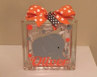 Baby/Baby's/Babies Customized/Personalized Elephant Lighted Glass Block Nightlight (6-inch)