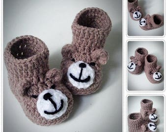 Crochet Baby Booties, Animal booties, Knitted Baby Booties, Baby Shower, Baby Shower Gift, Crochet Baby, Bear Booties, Teddy Bear Booties