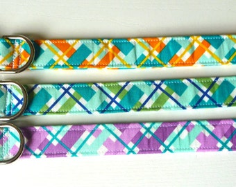 "Orange Purple Green Turquoise Plaid Dog Collar - Turquoise Orange Navy Purple Ice Frappe Plaid Dog Collar - ""Charli"""