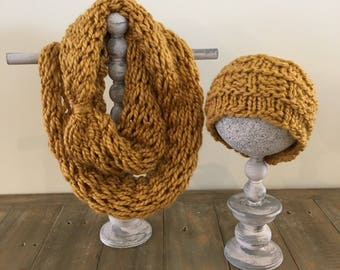 Golden crown ear warmer and infinity scarf set