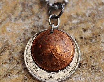 Canadian Maple Leaf Penny, 2007, Domed Coin Necklace, Canada Caribou Quarter, 2014, Repurposed, Mixed Metals Jewelry by Hendywood