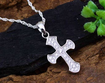 Sterling silver cross necklace sterling cross cross sterling silver cubic zirconia cross necklace small cross jewelry cz cross pendant confirmation aloadofball Image collections