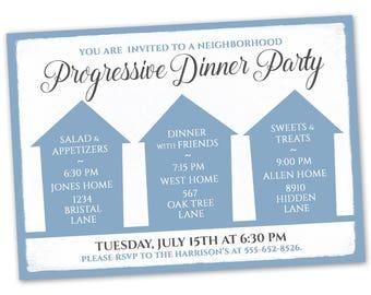 Progressive dinner etsy progressive dinner party invitation announcement card digital customized custom neighborhood block party house gathering blue stopboris Choice Image