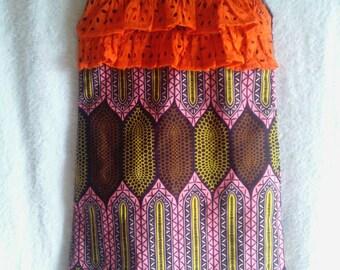 Ankara dress mix with lace