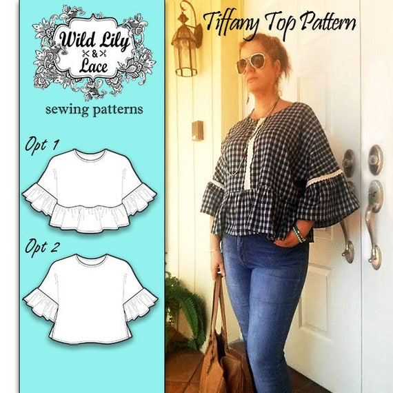 TOP SEWING PATTERN - fashion pattern, ruffle sleeve pattern, boxy ...