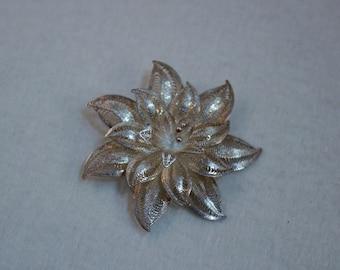 Vintage Filigree Sterling Flower Brooch, Poinsettia Flower Brooch