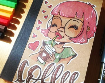 """Travel Notebook """"Coffee"""" hand illustrated"""