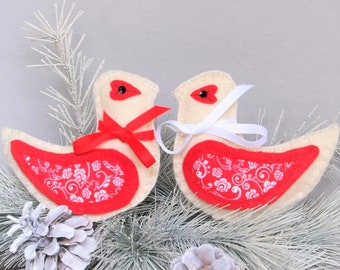 Romantic Love Gift for Wife, Love Birds Anniversary Gift for Couple, Gift for Her, Felt Bird Christmas Ornaments, Valentines Gifts