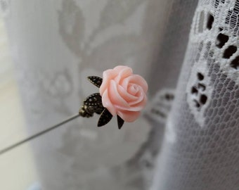 Victorian Hat Pin. Antique Inspired Soft Pink Floral Rose & Filigree Brass, Scarf Pin Stick Pin. DISPLAY or USE! Strong, Clutch Included