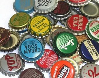 100 Vintage Random Bottle Caps Collectible Craft Jewelry Coke Soda Bottlecaps