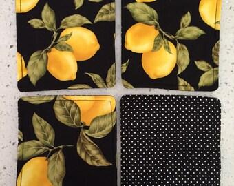 Drink Coasters - Set of 4 - Lemons on Black