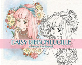 Digital Stamp Daisy Ribbon Girl, Digi Download, Floral Flowers Summer, Clip Art, Retro Style Anime, Coloring Page, Scrapbooking Supply
