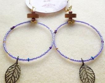 Lavender Leaf Hoops