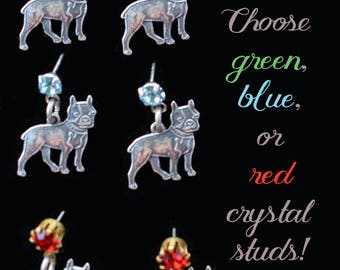 Boston Terrier Earrings, Dog Earrings, Dog Lover Gift, Dog Charm Jewelry, Crystal stud Earrings, Pet Lover Gift, Dog Sympathy Gift, Pet Loss