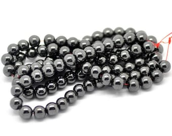 10 pearls 8 mm black Hematite non magnetic, for making jewelry or creative arts