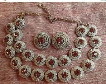ON SALE Brown Rhinestone Necklace Bracelet Earring Set ** 1950's 1960's Vintage Demi Parure