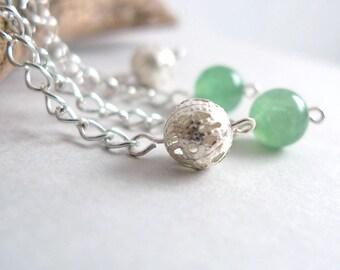 Green Jade Dangle Earrings - Semi-Precious Gem Stone Silver Earrings - Long Silver Chain Drop Earrings - Green Round Bead - Minimal Jewelry