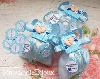 Wedding Favors birth, baptism, pouch bags, with confetti, gift idea, Fimo, polymeric pasta, handmade. Wedding Favors Birth/baptism.