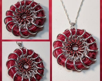 Glass Chainmaille Pendant with Chain
