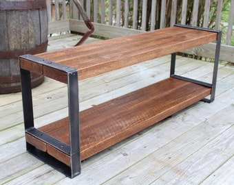 Superb Reclaimed Wood Bench, Entertainment Center,Console,Industrial  Bench,Urban,Barn Wood